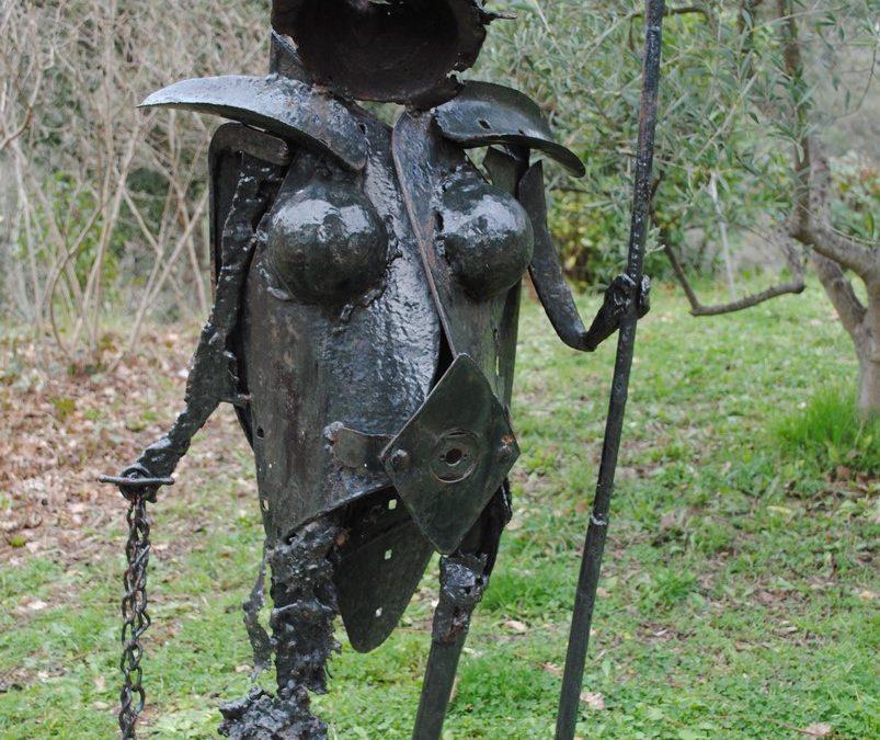 Naine Guerrière – Sculpture Acier Bois